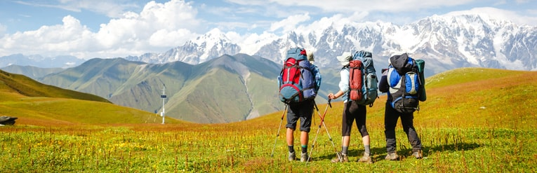 Group of travellers trekking in the mountains